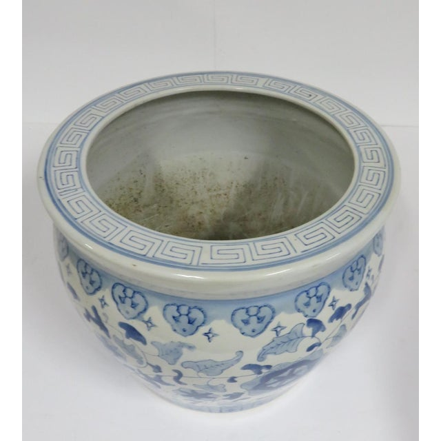 Chinese blue and white floral decorated jardinière planter.