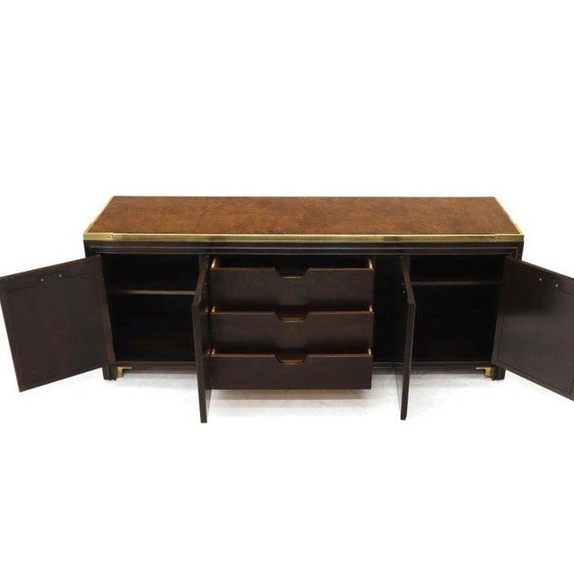 Mid-Century Modern Solid Brass Trim Burl Wood Credenza Server Cabinet Extra Long Dresser For Sale - Image 3 of 10