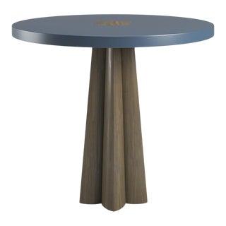 Danielle Smoked Wood Oak Side Table - Newburyport Blue For Sale