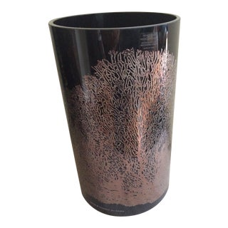 Egizia Italy Black Glass Rosegold Etched Coral Decoration - Signed For Sale