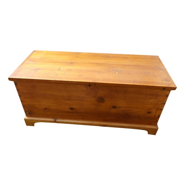 Primitive Antique Dovetailed Pine Hope Chest For Sale