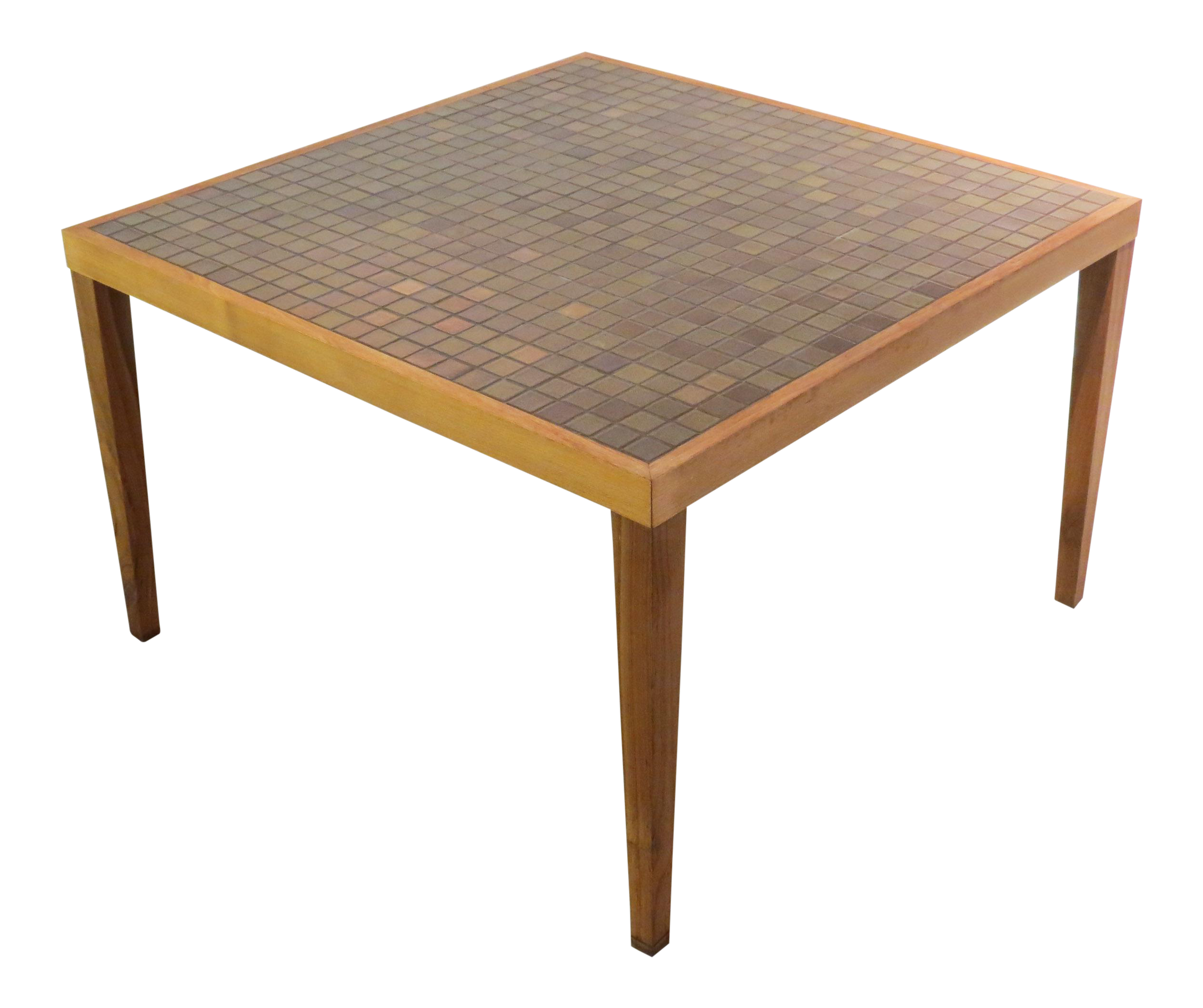 vintage mid century square martz tile top coffee table | chairish