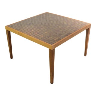 Vintage Mid Century Square Martz Tile Top Coffee Table For Sale