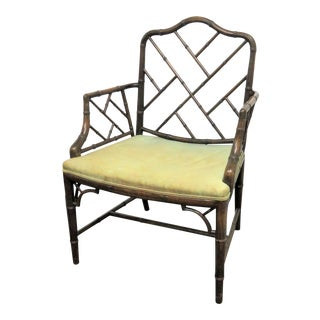 Hollywood Regency Wanlut Faux Bamboo Arm Chair For Sale