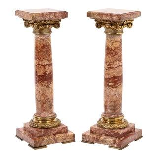 1870 French Ormolu Mounted Jasper Columns Pedestals - a Pair For Sale