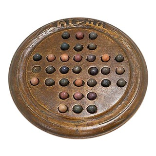 Antique Solitaire Marble Game, 34Pcs