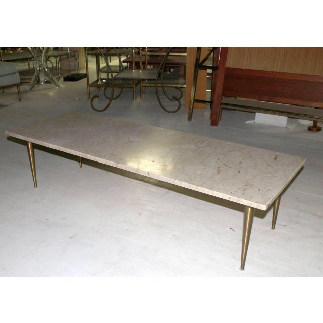 White Mid-Century Modern Marble Coffee Table For Sale - Image 8 of 8