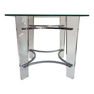 Charles Hollis Jones Lucite Chrome Side Table For Sale