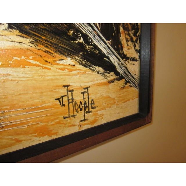 Canvas Mid-Century Modern Signed Van Hoople Modernist Industrial Abstract Landscape Impasto Style Oil on Canvas Painting For Sale - Image 7 of 9