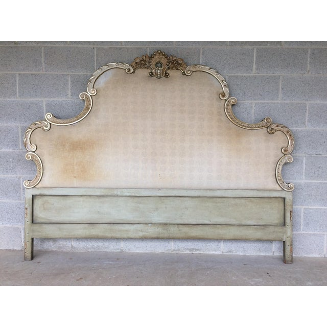 Richard Wheelwright Padded King Size Headboard, Original Finish and Upholstery, Highly Detailed Hand Carved Motif. Solid...