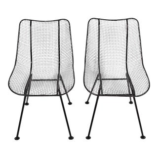 "Russell Woodard Black Wrought Iron ""Sculptura"" Dining Side Chairs - a Pair For Sale"