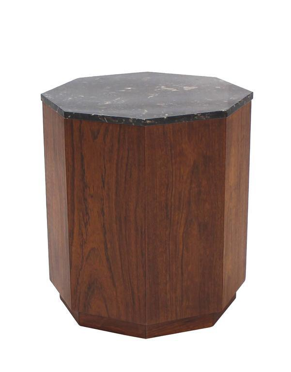 Ordinaire Mid Century Modern Octagon Marble Top Side Table With Compartment For Sale    Image
