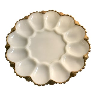 Vintage Milk Glass Egg Plate With Gold Trim For Sale