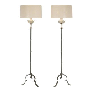 One Pair Italian Style Iron Floor Lamps With Silver Leaf Detail For Sale
