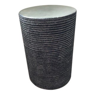 Organic Modern Round Cerused Accent Table For Sale