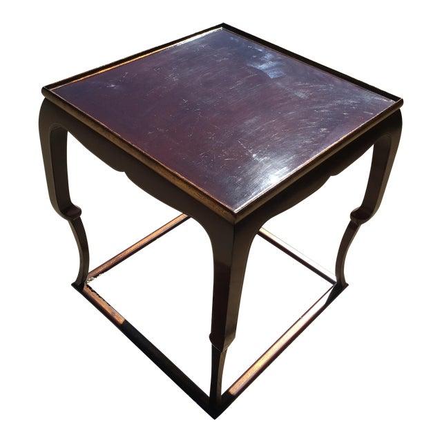 Piedouche Lacquer End Table with Grain De Café Gold Striping - Image 1 of 4