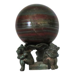 """Iron & Malachite """"Ball"""" on Stand Sculpture For Sale"""