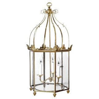 Important Regency Brass and Glass Lantern For Sale