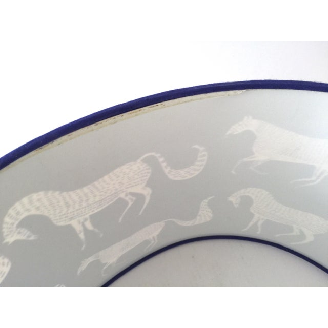 Vintage Blue Scalamandre Style Drum Lampshades With Lascaux Horse Design - a Pair For Sale - Image 11 of 12