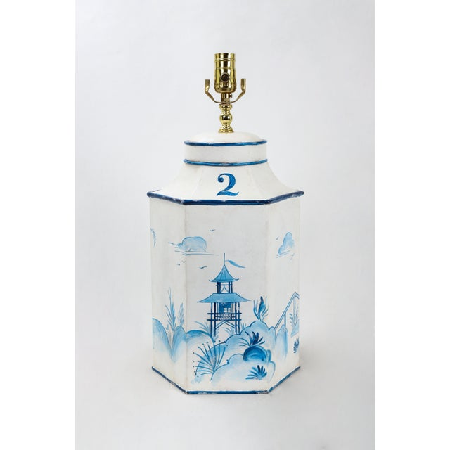 Mid 20th Century Vintage Hexagonal Blue & White Tole Tea Caddy #2 For Sale - Image 10 of 10