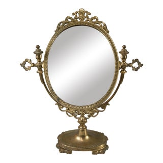 Vintage French Brass Vanity Table Mirror For Sale