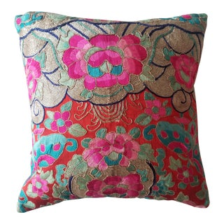 Anglo-Indian Silk Embroidered Tapestry Cushions With Ikat Backs For Sale
