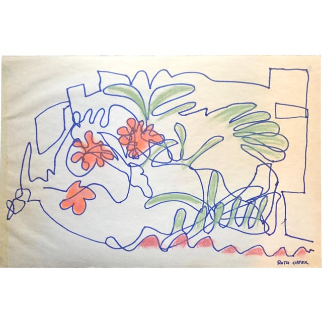 1950s San Francisco Abstract Expressionism Ink and Pastel Contour Drawing For Sale