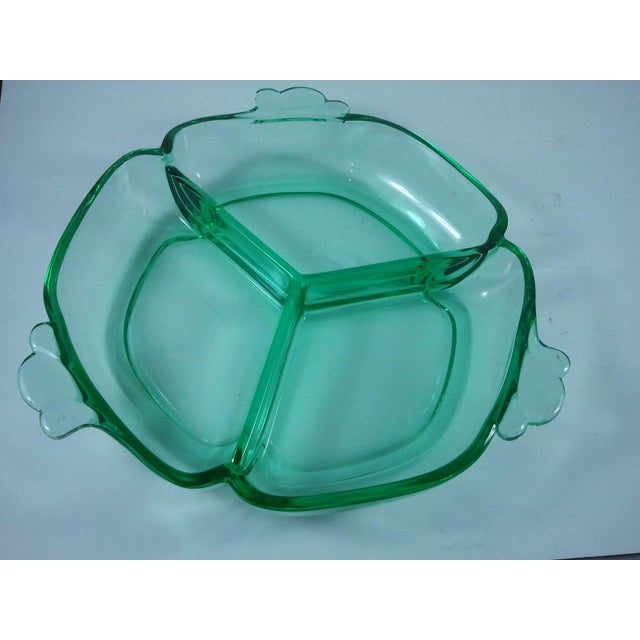 Mid-Century Modern Moon Gleam Crystal 3-Part Relish Dish Heisey For Sale - Image 3 of 3
