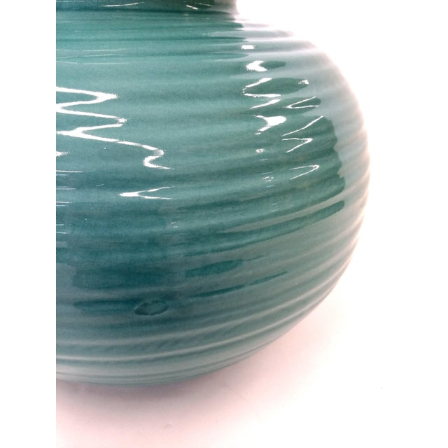 Transitional Turquoise Ribbed Custom Lamp Base - Image 5 of 11