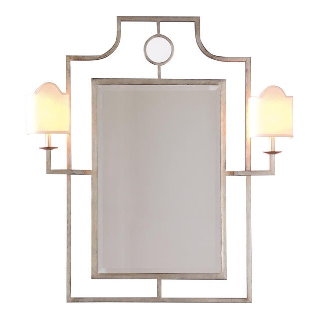 """Doheny Silver Mirror With Sconces 46""""h For Sale"""
