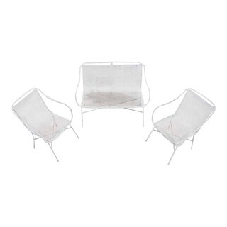 Outdoor Metal Loveseat and Pair of Matching Chairs For Sale