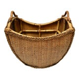 Image of Vintage Bamboo Wicker Basket For Sale