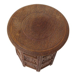 Pierced Carving Teak Round Folding Side Occasional Table For Sale