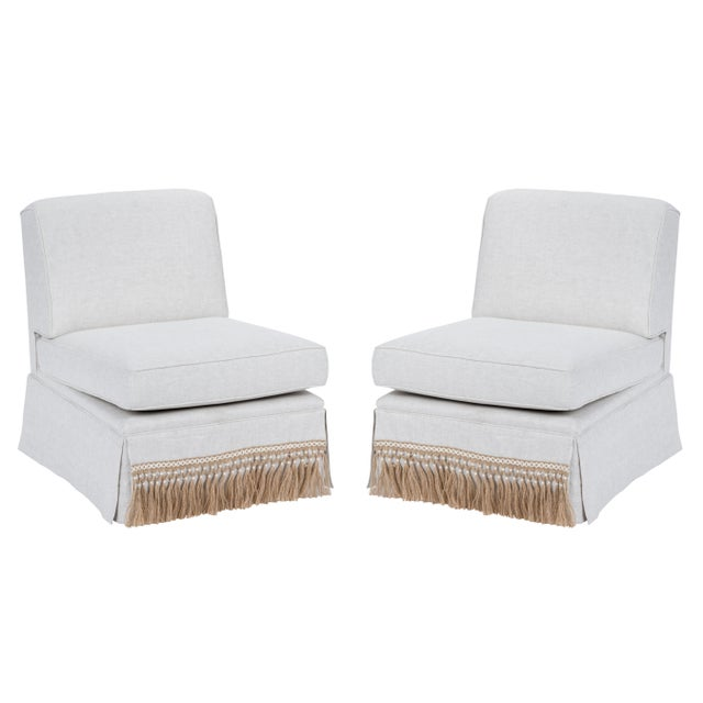 Casa Cosima Skirted Slipper Chair in Oatmeal Linen, a Pair For Sale - Image 9 of 9