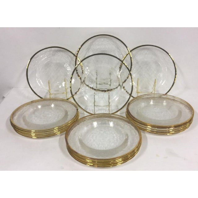 Gold Edges Glass Dinner Plates - Set of 20 For Sale In New York - Image 6 of 6