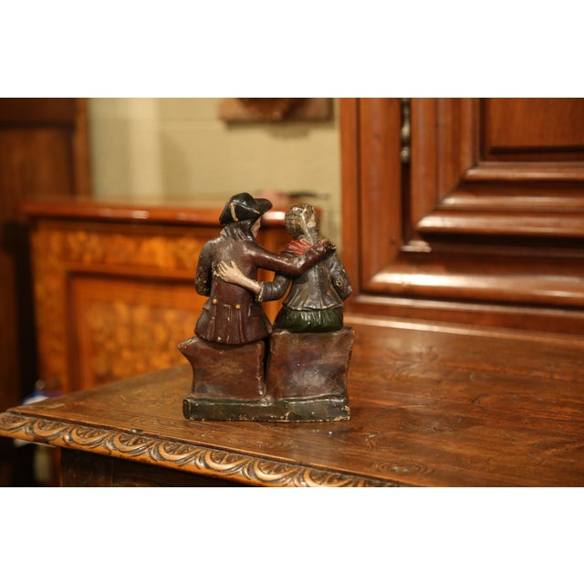 19th Century French Hand-Painted Ceramic Sculpture of Old Couple For Sale In Dallas - Image 6 of 9