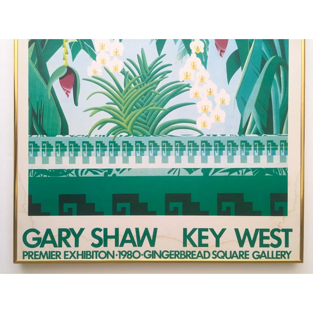 """Art Deco Vintage 1980 """" Gary Shaw Key West """" Tropical Botanical Lithograph Print Framed Exhibition Poster For Sale - Image 3 of 13"""
