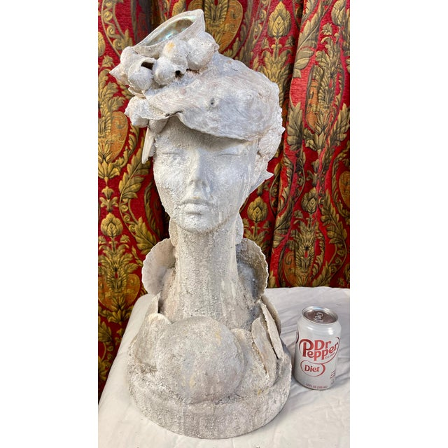 """Shell 1990s """"Sea Queen"""" Woman Bust Sea Shell Sculpture For Sale - Image 7 of 11"""
