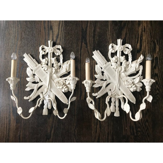 Alabaster 1940s Palladio Italian Lighted Double Sconces With Arrows, Torch and Rose - a Pair For Sale - Image 8 of 9