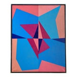 Image of 20th Century French Hard-Edged Geometric Oil on Canvas For Sale