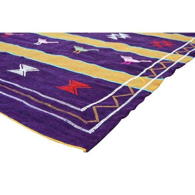 Tribal Purple Moroccan Silk Rug- 8' x 4'5'' For Sale - Image 3 of 5