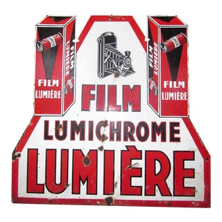 Art Deco French Lumiere Lumichrome Film Camera Porcelain Sign