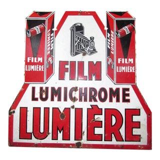 Art Deco French Lumiere Lumichrome Porcelain Sign