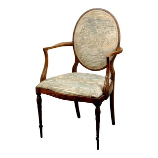 19th Century English Painted Satinwood Open-Arm Chair For Sale