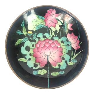 Lotus Flower Porcelain and Brass Bowl For Sale