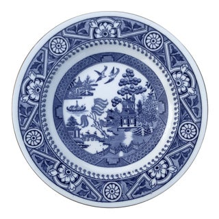 1875-1900's Antique Wedgwood Blue Willow Shallow Salad Bowls and Plates - Set of 11 For Sale