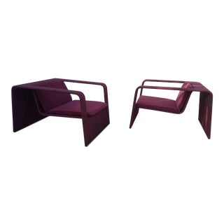80's Italy Paola Lenti Outdoor Arm Lounge Chairs a Pair For Sale