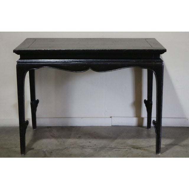 Wood Chinese Black Crakel Lacquered Elm Table For Sale - Image 7 of 7