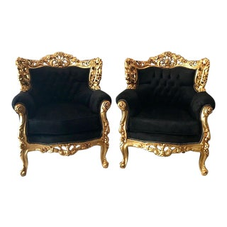 French Louis XVI Style Black Velvet Gold Chairs - A Pair For Sale