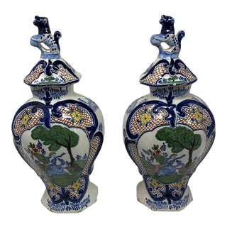 18th C Delft Lidded Jars - a Pair For Sale